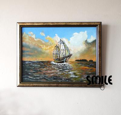 Картина Кораб на залез слънце