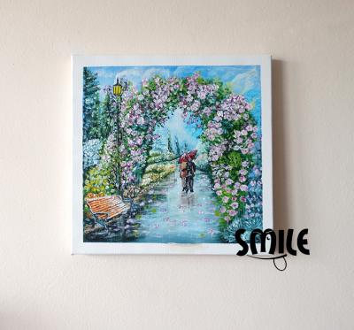 Картина Влюбени с чадър под розите
