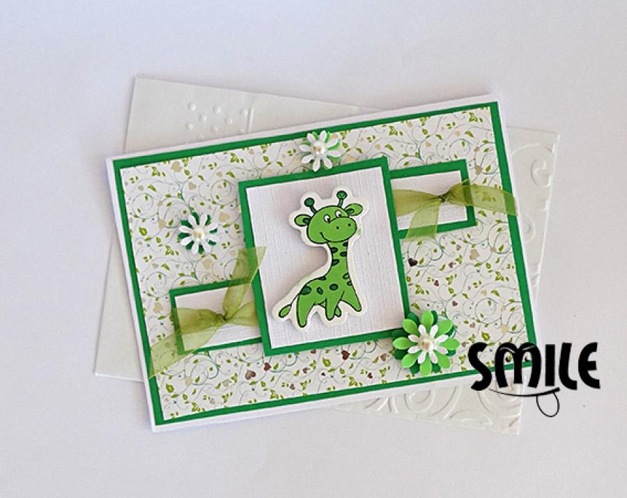 Картичка зелен жираф