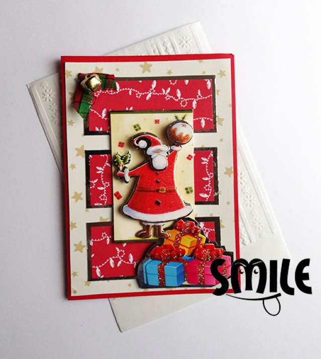 Картичка Дядо Коледа с подаръци