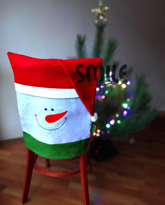 Калъф за стол Снежен човек с шапка