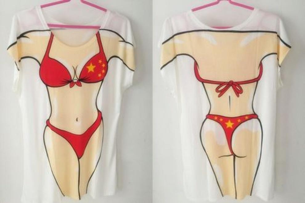 Тениска туника с принт бански костюм