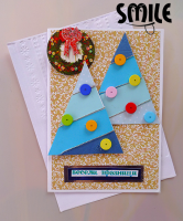 Коледна картичка снежни коледни елхи