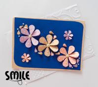 Картичка с 3D цветя