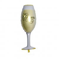 Фолиев балон чаша и бутилка шампанско