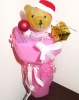 Букет Коледен мечок - розов